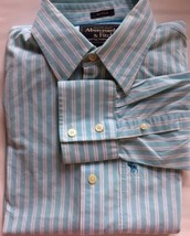 Abercrombie & Fitch Men Dress Shirt Muscle Fit L Turquoise Stripe White ... - $25.08
