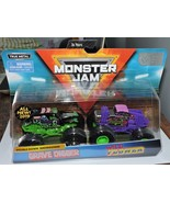 2019 MONSTER JAM TRUCKS DOUBLE DOWN SHOWDOWN - GRAVE DIGGER & WILD FLOWER - $16.00