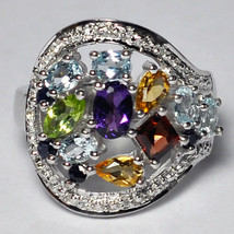 Natural Multicolor Gemstone Statement Wide Band Ring Womens 925 Sterling... - $129.00