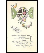 Bird Flowers Window Vine Antique Hand Colored Greeting Card 1931 Delicat... - $18.99