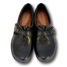 Cobb Hill New Balance Solid  Black Leather Shoes Woman 5 B Hook Loop Flats - $42.99