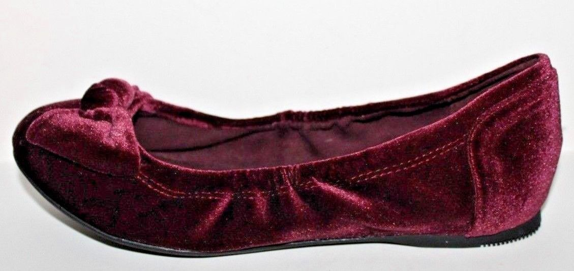 Bandolino NWOB Womens Alexika Burgundy Wine Velvet Flex Ballet Flats w// Knot Bow