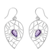 Amethyst Gemstone 925 Sterling Silver Hook Earring For Beautiful Girl SH... - $20.47