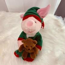 "Winnie the Pooh Plush Piglet Doll Pjs Holding Teddy Bear 12"" Tall Vintage - $18.49"
