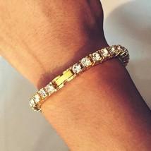Hip Hop Bracelet Gold Iced Out 8 Inch Chain Mens Cuban Men Link Diamond ... - $5.68