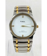 Fossil Two Tone Silver Gold Fashion Casual Dress Watch Stainless Link Ba... - £32.28 GBP