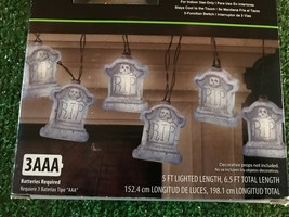 New Set Of 8 Halloween RIP Battery Operated Tombstone Novelty Lights With Sound - $14.84
