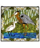 """Meyda Tiffany 30""""W X 27""""H Blue Heron & Snowy Egret Stained Glass SPECIAL! - $799.00"""