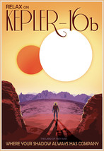 NASA Space Travel Recruitment Poster Relax on Kepler-16b Wall Art Print Retro - $12.87+