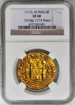 PERU 1712 DOUBLE DATE 8 ESCUDOS GOLD DOUBLOON COIN 1715 FLEET SHIPWRECK ... - $19,500.00