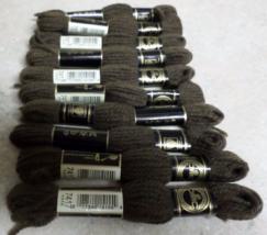 Vintage DMC Tapestry Wool Laine Tapisserie 10 Skeins # 7417 Dark Brown - $20.00