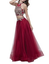 Womens 2018 Two Pieces Prom Dress Lace Applique Long Tulle Evening Forma... - $114.99