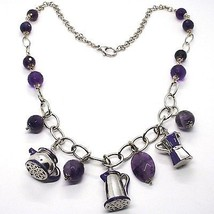 925 Silver Necklace, Amethyst, Mocha, Coffee Maker, Teapot, Pendants tiles image 2