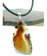Montana Agate Cabochon Pendant Black Leather Necklace - $38.00
