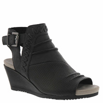 Earth Peep-Toe wedges W Buckle Detailing - Attalea Bonaire Black 9 M - $108.89
