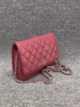 100% AUTH CHANEL WOC Quilted Lambskin Red Wallet on Chain Flap Bag SHW image 4
