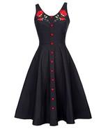 Sleeveless Vintage Embroidery Print Tea Dress for Women M BP377-1 - $40.65
