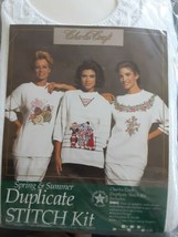 Charles Craft Duplicate Stitch Kit with Sweater Size XL FLORAL Vintage S... - $32.66