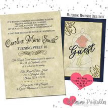Beauty and the Beast Birthday any age Invitation PRINTABLE Thank you - £9.07 GBP