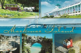 Postcard Mackinac Island Michigan Horse Drawn Carriage Boats Shore Hotel... - $5.93