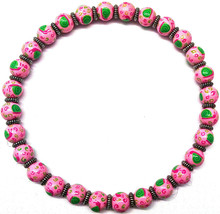 New In Pouch Angela Moore Pink Beaded Necklace With Green Snails - $49.49
