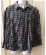 VTG 90s GUESS Plaid Button Up Long Sleeve Shirt Blue Gray Size Large Heavy - $19.36