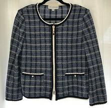 St. John Collection Blue & Wht Plaid Tweed Jacket w/ Zipper Front Sz 8 $1290 - $389.96
