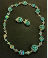 Vintage Vendome Aurora Borealis Crystal Glass Beaded Necklace and Earrin... - $121.25