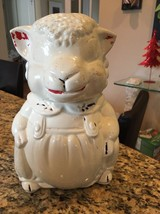 Vintage American Bisque ABCO Pottery Lamb Sheep Cookie Jar - $46.74