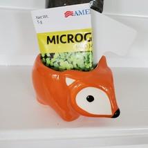 Fox Planter with Microgreens Seed Kit, gardening gift, ceramic animal planter image 2