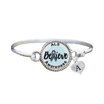 Custom ALS Lou Gehrig's Awareness Believe Silver Bracelet Jewelry Choose... - $14.84+