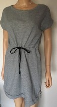 Joan Voss Sport Gray T Shirt Dress Sweatshirt Cinch Waist 100% Cottom Sz... - $24.70