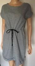 Joan Voss Sport Gray T Shirt Dress Sweatshirt Cinch Waist 100% Cottom Sz... - £18.57 GBP