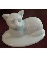 Fenton? Cat Kitten Aqua Satin Art Glass Lying down Unsigned #4 - $29.99