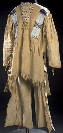 Reproduction Men's Native American Buckskin Beige Bead Leather Shirt/ Pant WS241 image 3