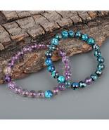 Couple Bracelet, Chrysocolla & Ametrine Gemstone 8 MM Beads Stretch Bracelet. - $34.99 - $38.99