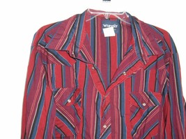 Wrangler Men's Size 2X Striped L/S Snap Front Western Cowboy Shirt Rockabilly - $17.79