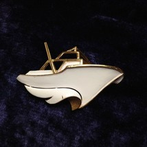 Vintage Crown Trifari Brooch Yacht Boat Ship Gold Plate Trifarium White ... - $29.74