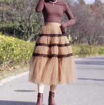 High Waisted Tiered Tulle Skirt Outfit Khaki Puffy Tiered Skirt Holiday Outfit  image 4