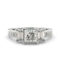 Moissanite Princess Ring Forever One Solitaire Engagement 18K W Gold 2.90 tcw - $4,172.00