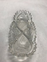 Vintage sawtooth heavy cut crystal glass oval dish etched grapes condime... - $55.44