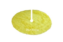 5' Round Light Yellow Tree Skirt Christmas Holiday Faux Fur Decor - $104.50