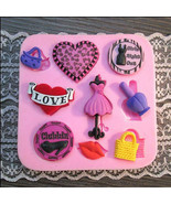 Ladies Night Out Silicone Mold, Heart Silicone Mold, Lips Silicone Mold - $8.91