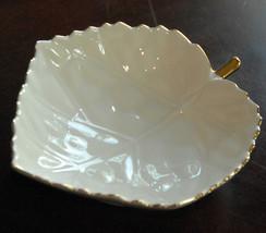 Lenox Maple Leaf Shaped Dish White Porcelain Gold Gilt Candy Bowl 758325 - $21.99