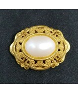 Miriam Haskell Faux Pearl Gold Tone Openwork Pin Brooch - $89.09