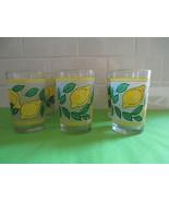 Vintage Frosted Lemon Motif Juice Tumbler Drinking Glasses Set of 6 - $53.46