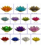 Lotus Tea Light Candle Holder Capiz Shell Home Flower Decorating Accent ... - $18.28