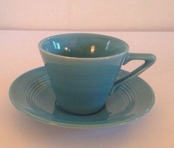 VINTAGE HARLEQUIN TURQUOISE CUP & SAUCER Fiesta Homer Laughlin  - $27.31