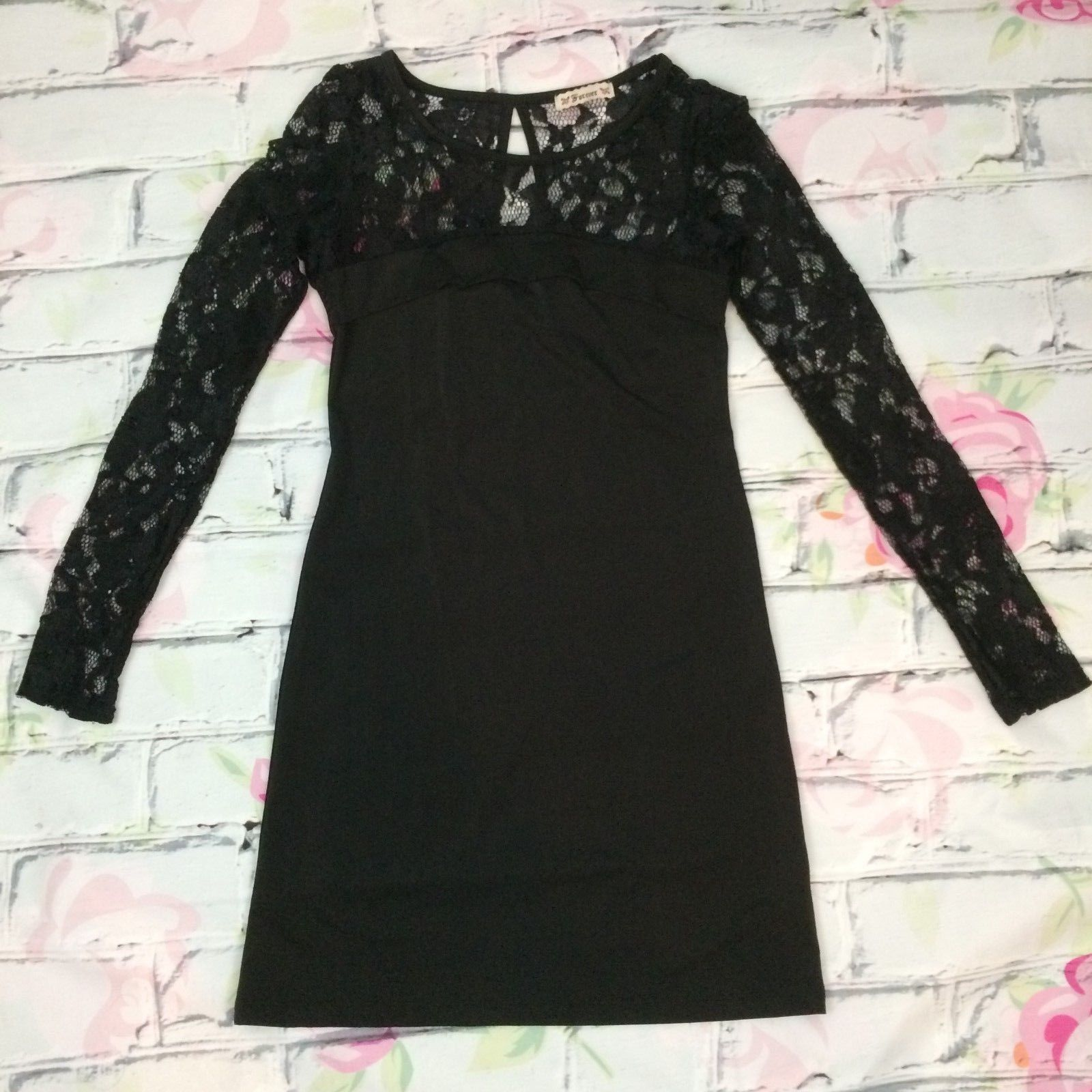 Forever Black Lace Dress Size Small Goth Punk Fashion Keyhole Back Made in USA