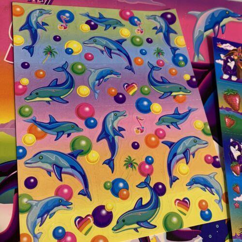 Vintage Lisa Frank Scentsations Sticker Sheet Dancing Dolphin Bubblegum Gumballs